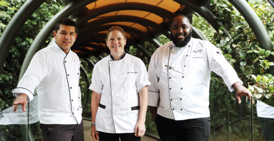 Saxon Executive Pastry Chef Nathan Jacobs, Executive Chef Jane-Therese Mulry, Head Chef Trevor Chikaura
